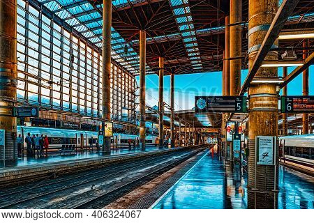 Modern Hi-speed Passenger Train Of Spanish Railways Company-renf