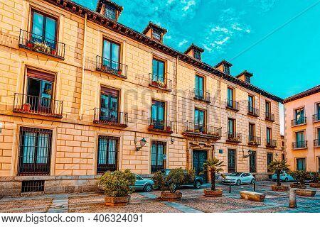 Square Of  Cordon (plaza Del Cordon) In Madrid  Downtown Of The