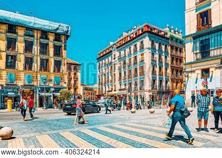Square Of San Miguel ( Plaza De San Miguel) And Market On It,  L