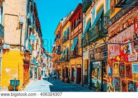 Narrow Medieval Streets Of The City Of Segovia, Near Madrid.
