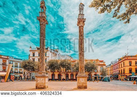 Column Alameda De Hercules In Downtown Of The City Seville - Is