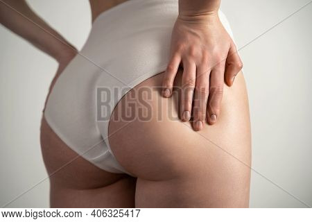 Beautiful Female Slim Body. Beauty Part Of Female Body. Womans Shape With Clean Skin.