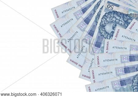 50 Croatian Kuna Bills Lies Isolated On White Background With Copy Space. Rich Life Conceptual Backg