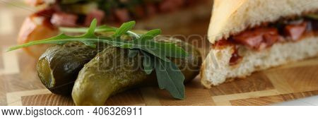 Close-up Of Delicious Crusty Sandwiches With Mixed Stuffing. Fast Food And Calories. Unhealthy Eatin