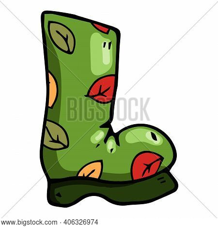 Garden Rubber Boots. Vector Illustration Boots. Spring Rubber Boots For Gardening.