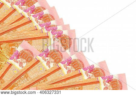 100 Sri Lankan Rupees Bills Lies Isolated On White Background With Copy Space Stacked In Fan Close U