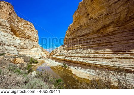 The magnificent gorge Ein Avdat is the most beautiful in the Negev desert.  Israel. The ravine is formed by the waters of the Qing River. Start route. The walls of the gorge are corroded by caves