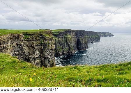 World Famous Cliffs Of Moher, One Of The Most Popular Tourist Destinations In Ireland. View Of Widel