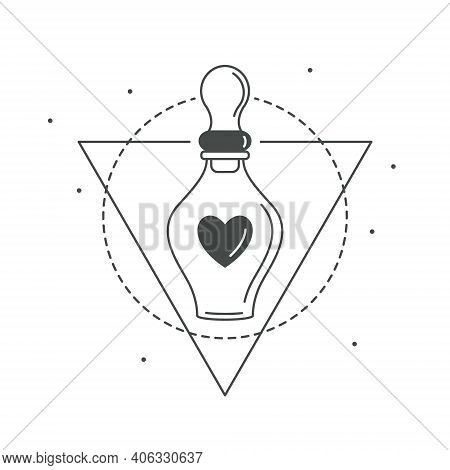 Vector Illustration Of Magic Love Potion Beautiful Bottle With Heart Inside. Chemistry Of Love. Myst