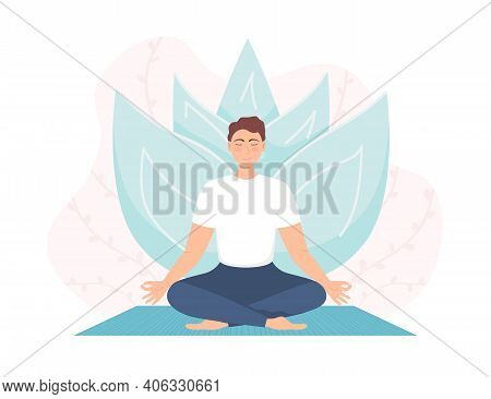 Man Meditating In Nature. Concept For Man Yoga, Meditation, Relax, Recreation, Healthy Lifestyle. Bo