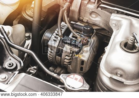 Car Alternator In Benzine Engine,  Component Of The Electrical Charging System Of The Car Engine,aut