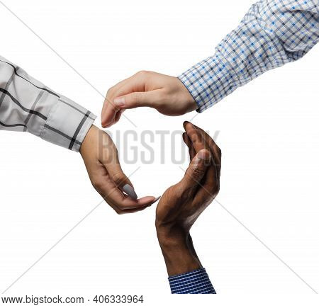 Three Human Hands Joining In Solidarity. Concept Of Unity, Charity.