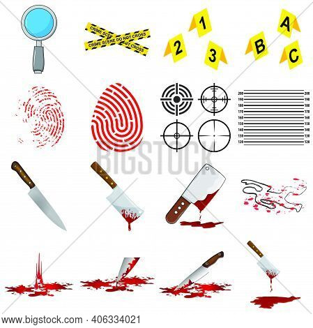 Murder Icon Set. Crime Symbol Collection. Contains Murderer Investigation And Bloody Knife Elements.