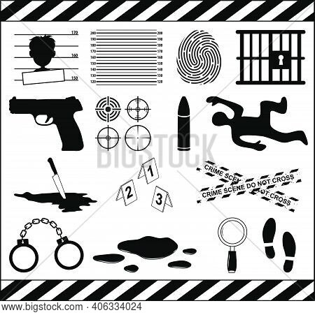 Crime Icon Set. Murder Symbol Collection. Criminal Illustrations Isolated On White Background. Conta