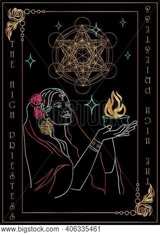 E Illustration - Card For Tarot - The High Priestess.
