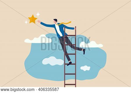 Business Opportunity, Ladder Of Success Or Aspiration To Achieve Business Goal Concept, Ambitious Bu