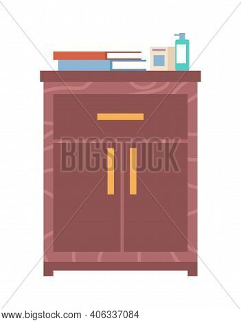 Wooden Commode With Drawers Isolated On White Background. Interior Element Made Of Wood. Chest Of Dr