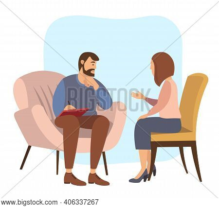 Patients At A Reception At The Psychotherapies. Woman Talking To Psychotherapist Or Psychologist And