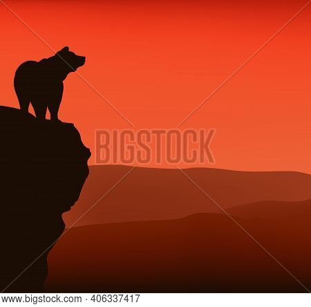 Wild Bear Standing On High Cliff At Sunset - Vector Silhouette View Of Dramatic Wilderness Scene