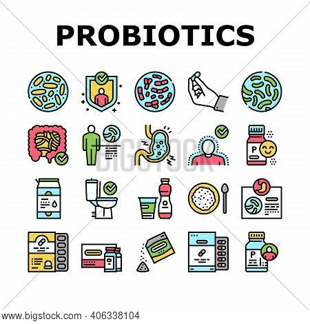 Probiotics Bacterium Collection Icons Set Vector. Dry And Liquid Probiotics, Sorption And Capsule, L