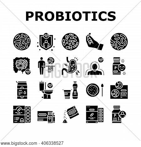Probiotics Bacterium Collection Icons Set Vector. Dry And Liquid Probiotics, Sorption And Capsule, L
