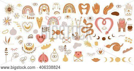 Boho Element Collection. Boho Set. Boho Clipart. Hand Drawn Boho Plants, Shapes, Leaves Rainbow, Han