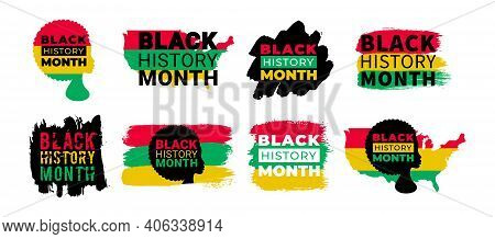 Black History Month. Vector African American History Designs Set With African Woman, Text, Usa Ameri