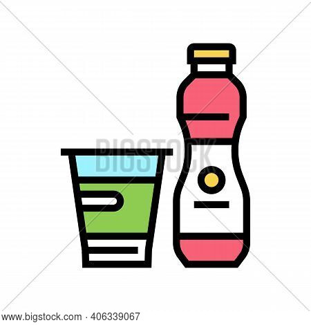 Yogurt Dairy Product With Probiotics Color Icon Vector. Yogurt Dairy Product With Probiotics Sign. I
