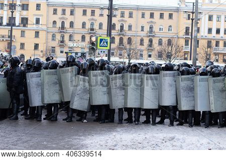 Saint Petersburg, Russia - 31 January 2021: Police Force Squad On Street, Protest In Russia. Riot Mi