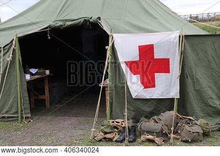 A Vintage Military First Aid Field Hospital Tent.