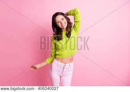 Photo Of Sweet Charming Curly Woman Dressed Green Pullover Smiling Dancing Hand Head Isolated Pastel