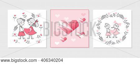 Valentines Day Vector Illustration, Set Of Postcards With Triangular Hearts, Boyfriend And Girlfrien