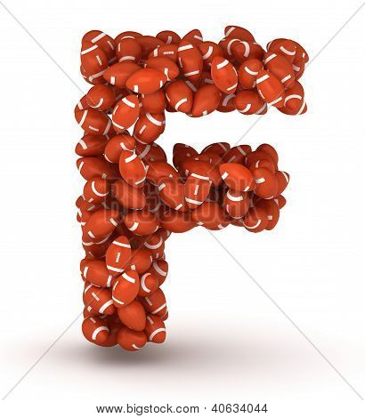 Letter F making from american football balls poster