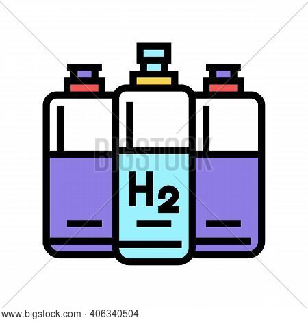 Cylinders Hydrogen Color Icon Vector. Cylinders Hydrogen Sign. Isolated Symbol Illustration