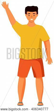 Boy Putting Up Hand To Gain Attention Isolated On White Background. Young Man Dressed In Summer Clot