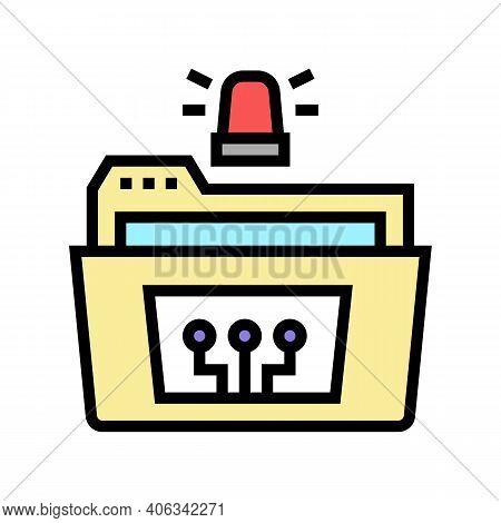 Folder With Debug Report Color Icon Vector. Folder With Debug Report Sign. Isolated Symbol Illustrat