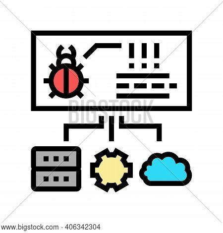 Virus On Server, Cloud And Computer Components Color Icon Vector. Virus On Server, Cloud And Compute