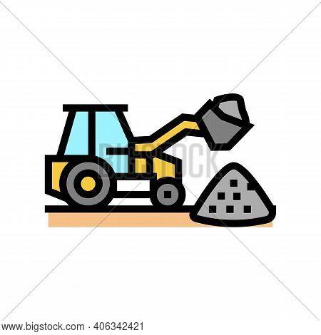 Tractor Stone Gravel Loading Machine Color Icon Vector. Tractor Stone Gravel Loading Machine Sign. I
