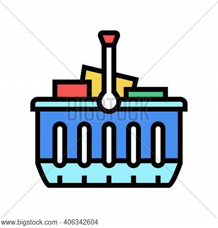 Basket With Purchases Color Icon Vector. Basket With Purchases Sign. Isolated Symbol Illustration