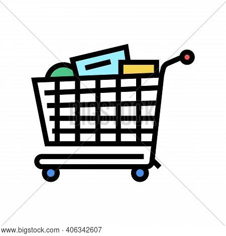 Shop Cart With Purchases Color Icon Vector. Shop Cart With Purchases Sign. Isolated Symbol Illustrat
