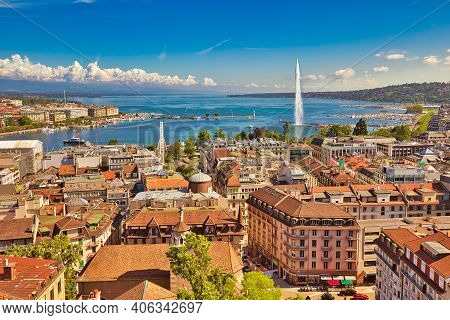 Geneva Skyline Cityscape, French-swiss In Switzerland. Aerial View Of Jet Deau Fountain, Lake Leman,