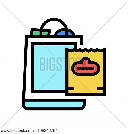 Package With Purchases Color Icon Vector. Package With Purchases Sign. Isolated Symbol Illustration
