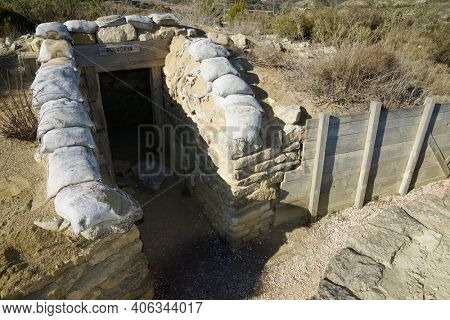 Reconstruction of a defensive position, named as George Orwell trench, used during the Spanish civil war in Alcubierre, Huesca province, Aragon in Spain.