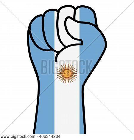Raised Fist Argentina Flag. Argentine Hand. Fist Shape Argentina Flag Color. Patriotic Demonstration