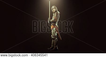 History of chivalry. Medieval knight with sword and armour on a black background.
