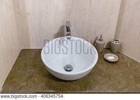 Ceramic Wash Bowl In Modern Lavatory Bathroom