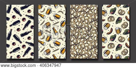 Set Of Beer Seamless Patterns. Brewing Or Brewery