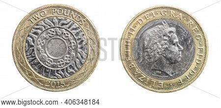Coin Of 2 Pence Isolated On White Background