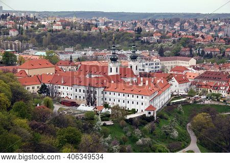 Prague, Czech - April 24, 2012: This Is An Aerial View Of The Strahov Monastery.