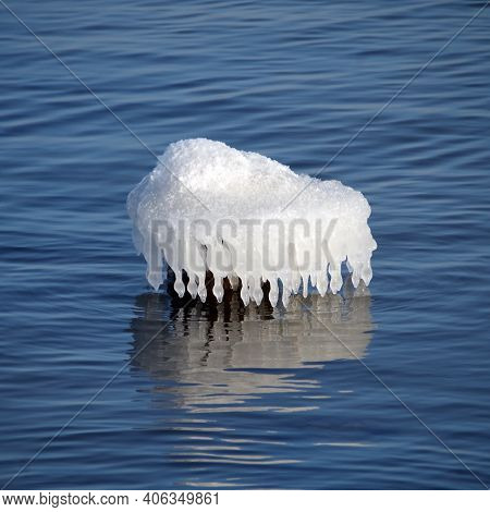 Unusual Bizarre Shape Icicles On The Sea In Cold Winter Weather